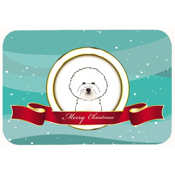 Bichon Frise Merry Christmas Kitchen/Bath Mat by The Holiday Aisle