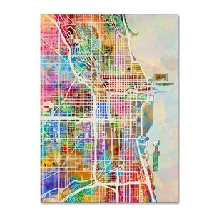 Chicago City Street Map by Michael Tompsett Graphic Art on Wrapped Canvas by Trademark Fine Art
