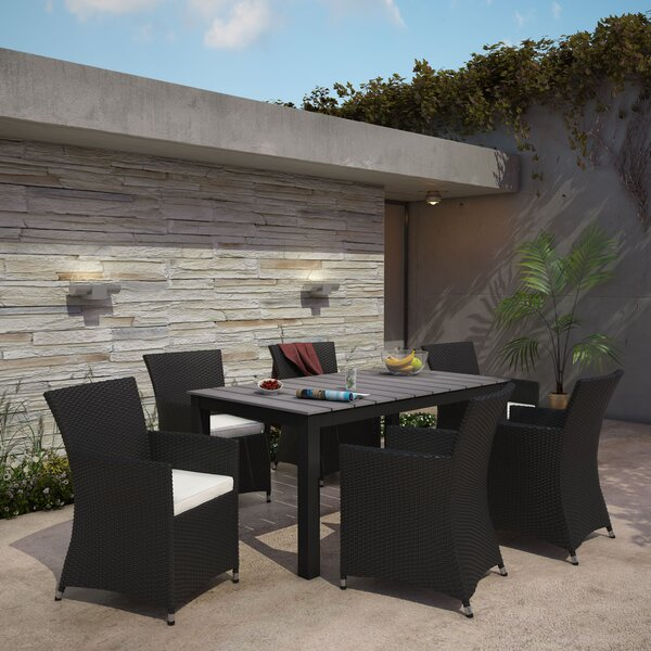 Junction 7 Piece Outdoor Patio Dining Set with Cushion by Modway