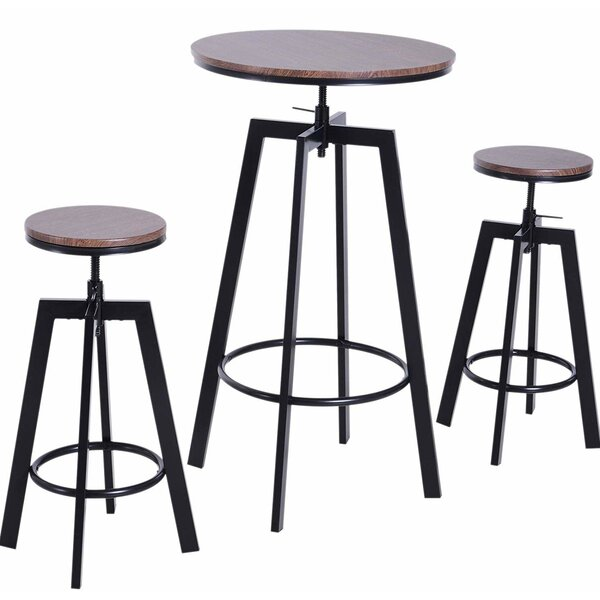 Unruh 3 Piece Adjustable Pub Table Set by Williston Forge