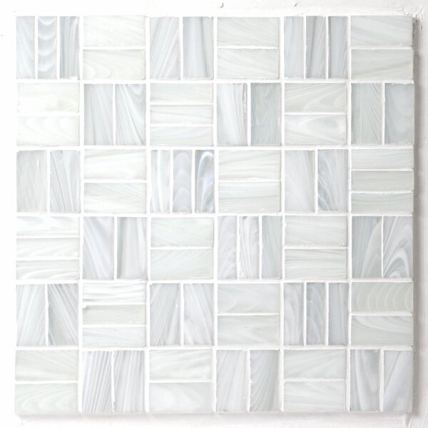 Homespun Tweed Dorset Random Sized Glass Mosaic Tile in White by Avenue Mosaic
