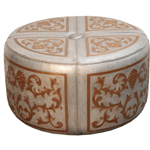 Canter Baroque Leather Pouf Ottoman by Fleur De Lis Living