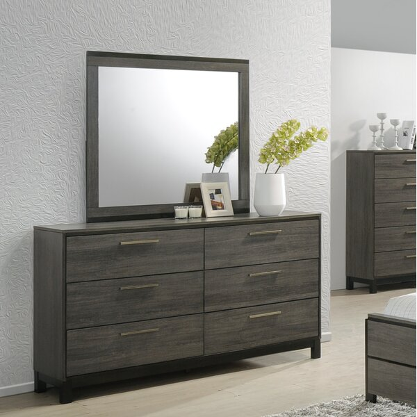 Mandy 6 Drawer Double Dresser with Mirror by Gracie Oaks