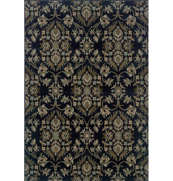 Silva Floral Navy/Gray Area Rug by Bloomsbury Market