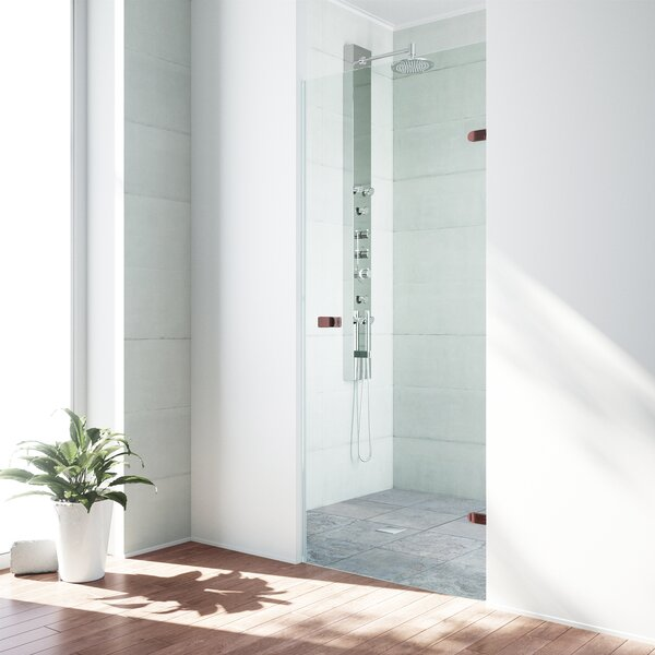 Tempo 24.5 x 70.63 Hinged Frameless Shower Door by
