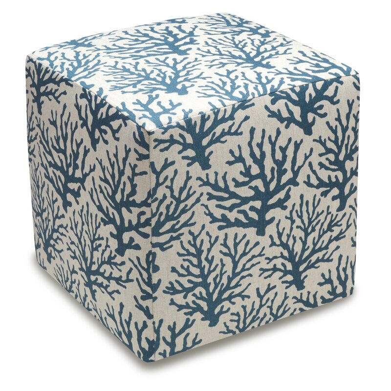 123 Creations Cube Ottoman Color: Navy Blue