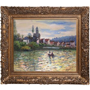 'The Seine at Vetheuil' by Claude Monet Framed Painting by Three Posts