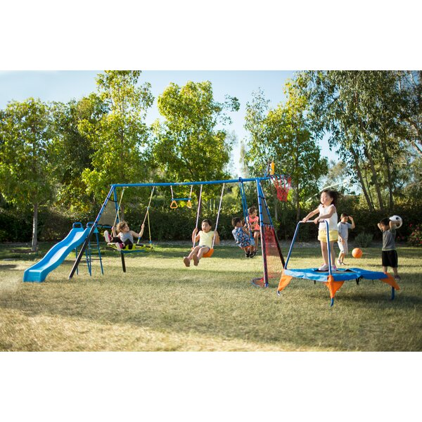 The Ultimate 8 Station Sports Series Metal Swing Set by Fitness Reality Kids
