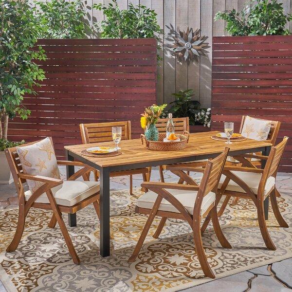 Finney 7 Piece Teak Dining Set with Cushions Bayou Breeze W000462386