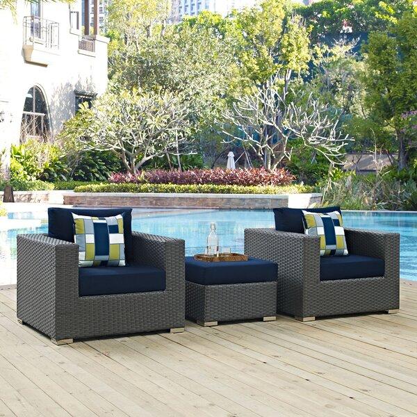 Tripp 3 Piece Sunbrella Conversation Set with Cushions by Brayden Studio