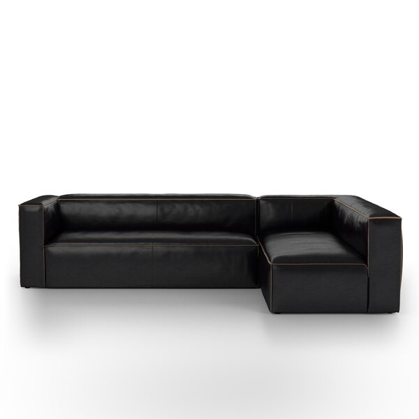 Henderson Left Hand Facing Leather Sectional by 17 Stories