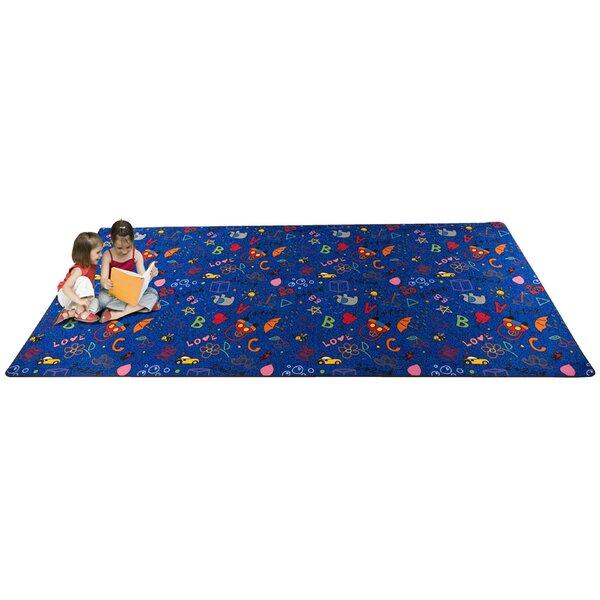 Playtime Doodle Blue Area Rug by Kid Carpet