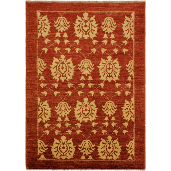 One-of-a-Kind Dorothy Hand-Knotted Wool Red/Gold Area Rug by Astoria Grand