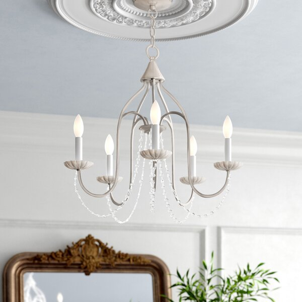 Andrews 5 - Light Candle Style Classic / Traditional Chandelier with Crystal Accents by Kelly Clarkson Home Kelly Clarkson Home