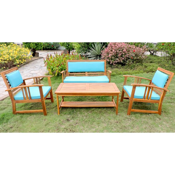 Manrique Patio 4 Piece Sofa Seating Group with Cushions by Breakwater Bay