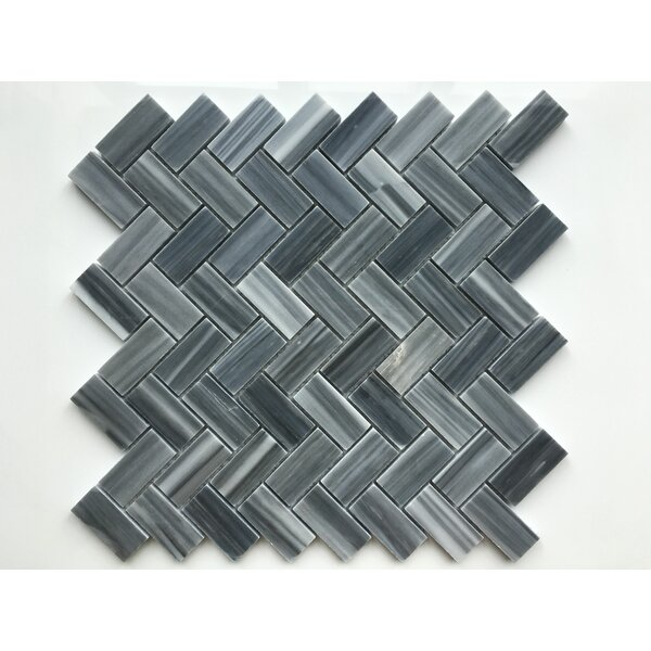 Marmol Herringbone Natural Stone Mosaic Tile in Dark Blue/Gray by Kertiles