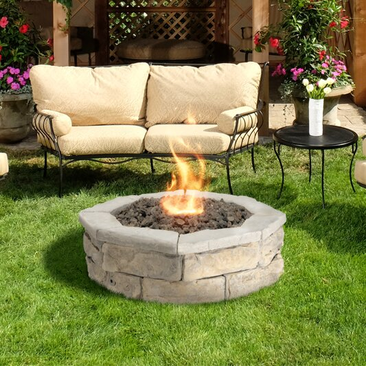 Concrete Fossill Limestone Propane Gas Fire Pit by Natural Concrete Products Co