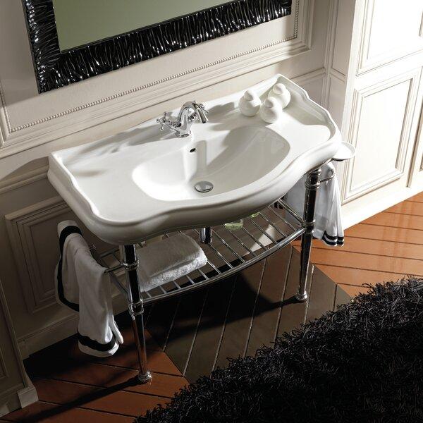 Retro Ceramic 34 Console Bathroom Sink with Overflow