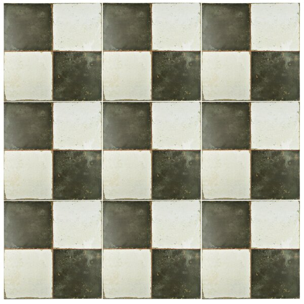 Royalty 17.63 x 17.63 Ceramic Field Tile in Matte Black/White by EliteTile