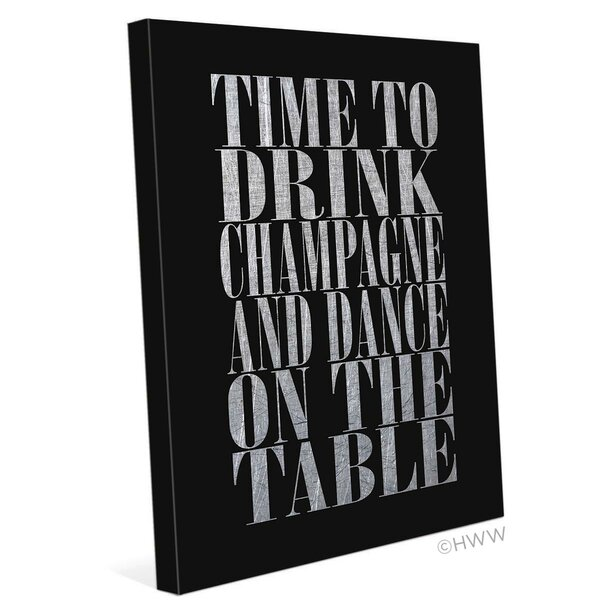 Time To Drink Champagne Textual Art on Wrapped Canvas in Silver by Click Wall Art