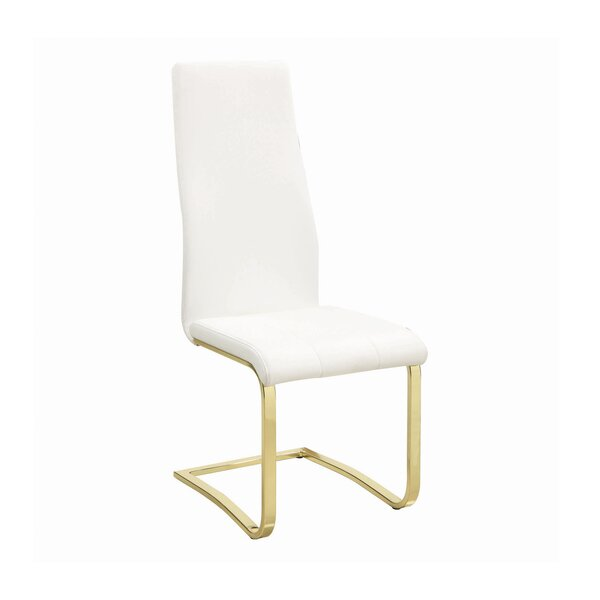 Acker Upholstered Side Chair in White by Everly Quinn Everly Quinn