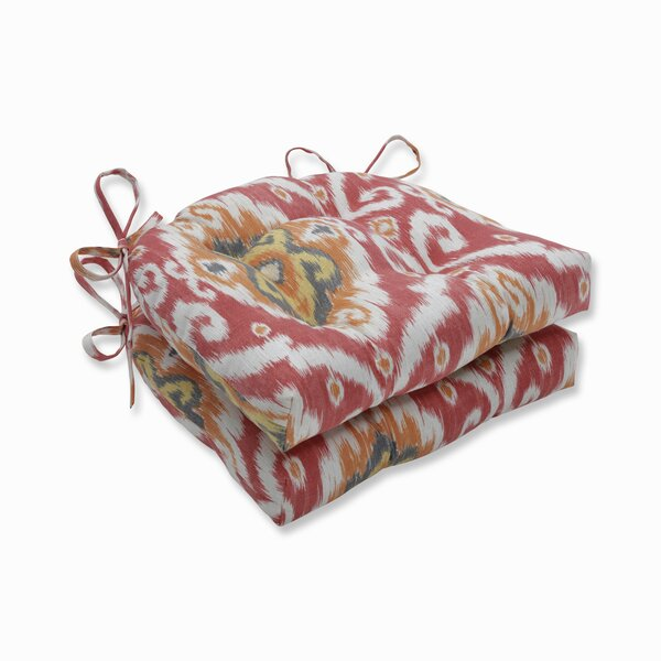 Coral Reversible Indoor/Outdoor Dining Chair Cushion (Set of 2) by Bloomsbury Market