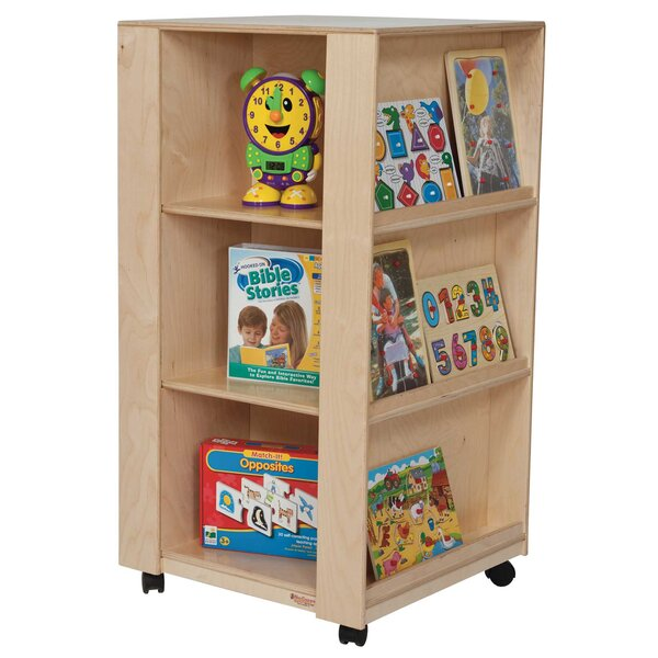 6 Compartment Book Display with Casters by Wood Designs