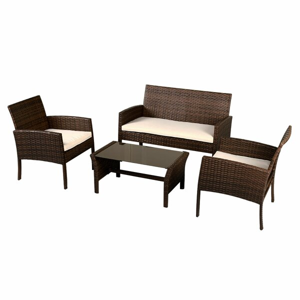 Annabella 4 Piece Rattan Sofa Set with Cushions by Ebern Designs