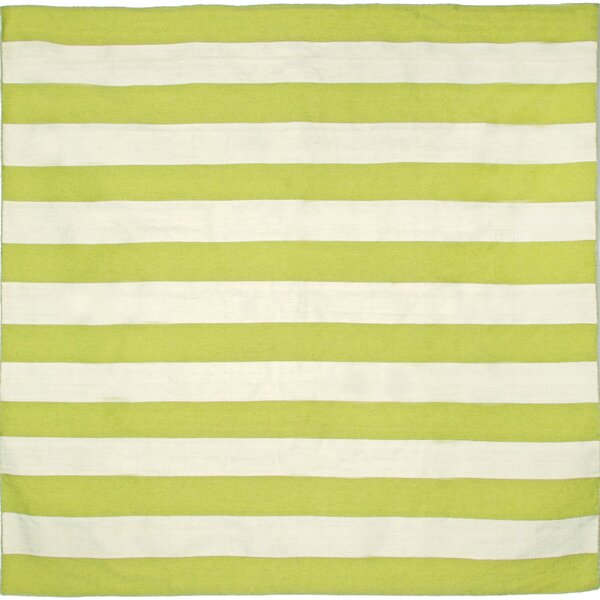 Ranier Stripe Hand-Woven Lime Indoor/Outdoor Area Rug by Beachcrest Home