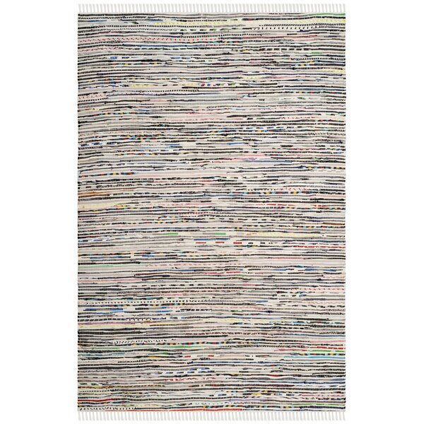 Conner Hand-Woven Cotton Gray/Pink Area Rug by Bungalow Rose