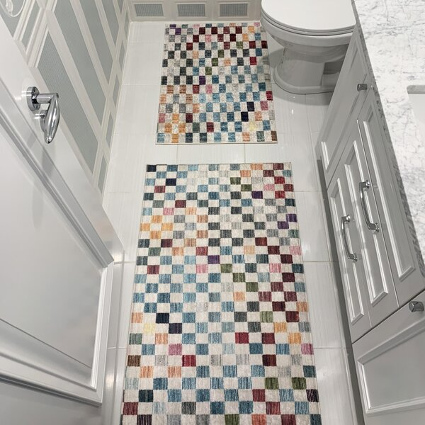 Wragby Printed Design Vibrant and Soft Rectangle Non-Slip Geometric piece Bath Rug Set