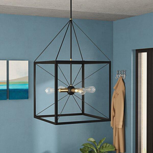 Hiram 4 - Light Lantern Rectangle Chandelier by Wrought Studio Wrought Studio