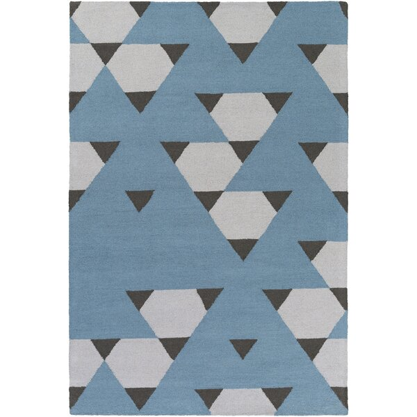 Youngquist Hand-Crafted Blue/Gray Area Rug by George Oliver