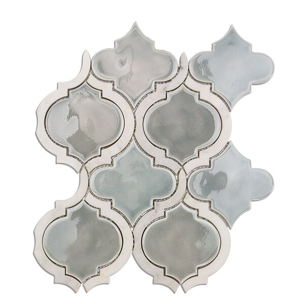 Oracle Random Sized Mixed Material Mosaic Tile in Arctic Blue by Splashback Tile