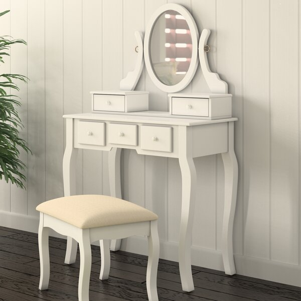 Zeke Wood Makeup Vanity Set with Mirror by Beachcrest Home Beachcrest Home