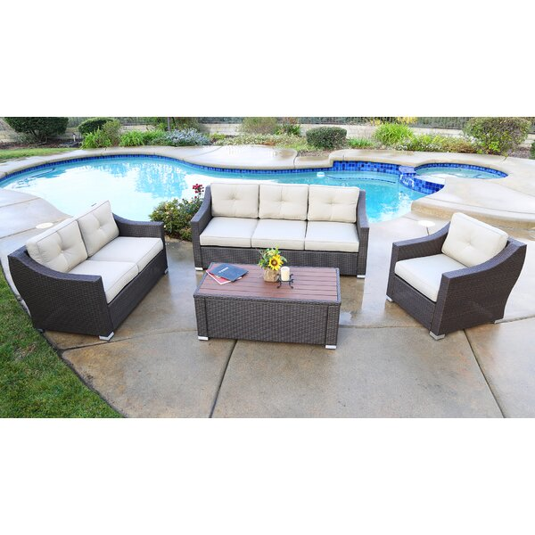 Suai Rattan Sofa Seating Group with Cushions (Set of 4) by Brayden Studio