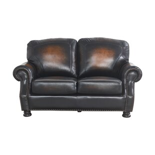 Damico Leather 65 Round Arms Loveseat by Darby Home Co