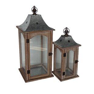 2 Piece Wood Gl Metal Lantern Set