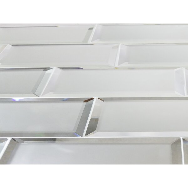 Echo  3 x 12 Mirror Glass Field Tile in Silver Matte by Abolos
