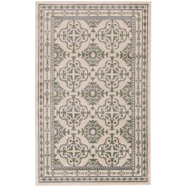 Knuth Green/Cream Area Rug by Winston Porter