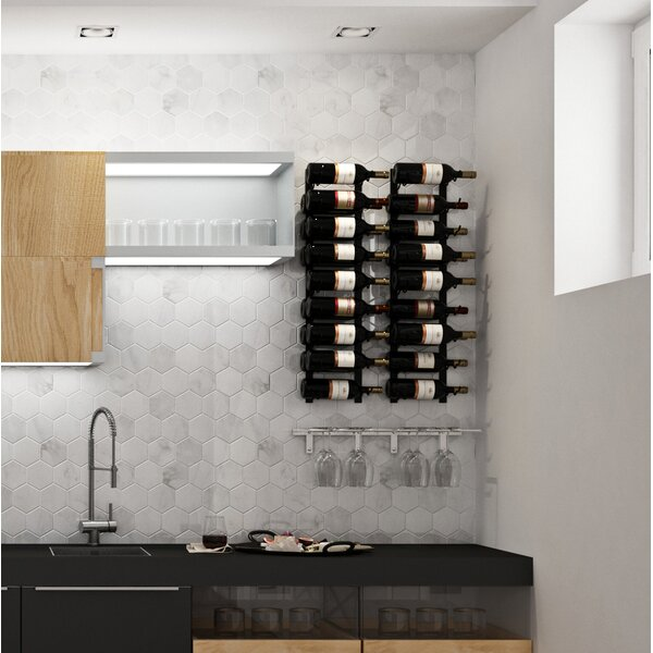 Indurial Wet Bar 2 Piece 18 Bottle Wall Mounted Wine Bottle and Glass Rack Set by Rebrilliant Rebrilliant