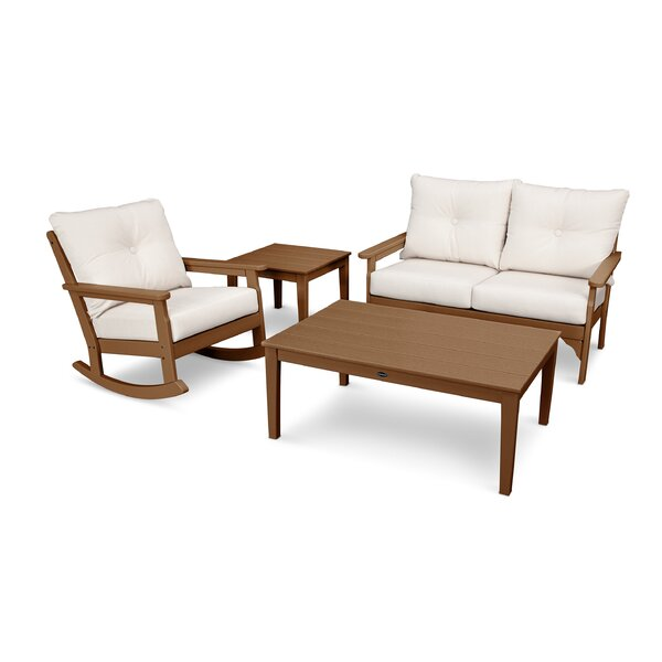 Vineyard Deep Seating 4 Piece Conversation Set with Cushions by POLYWOOD®