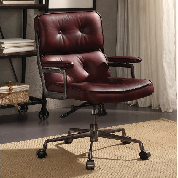Mcintyre Genuine Leather Executive Chair by Canora Grey