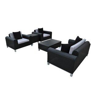 Amora 5 Piece Rattan Sofa Set with Cushions BySolis Patio
