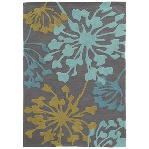 West Wick Hand-Tufted Gray/Gold Area Rug