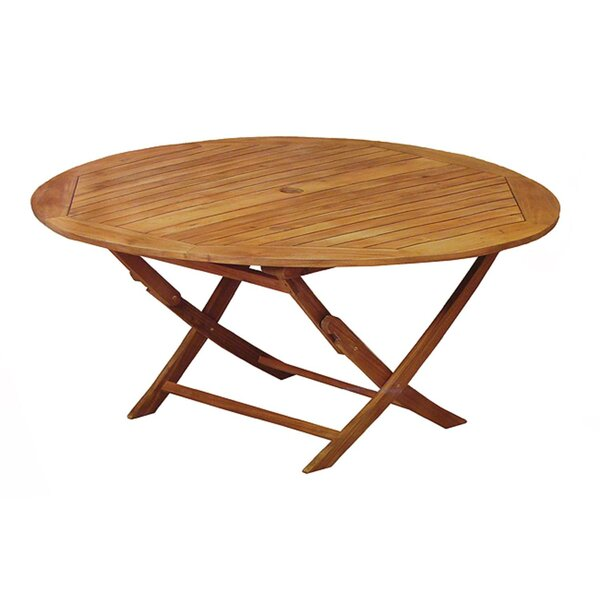 Everett Round Outdoor Acacia Wooden Folding Dining Table by August Grove