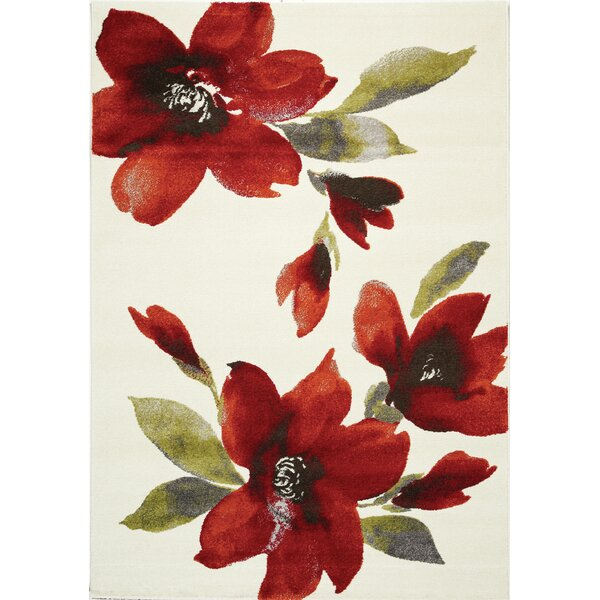 Lyme Cream Flowers I Area Rug by Red Barrel Studio