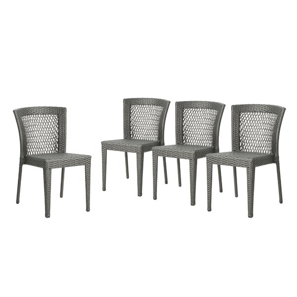 Emrich Outdoor Wicker Patio Dining Chair (Set of 4) by Orren Ellis Orren Ellis