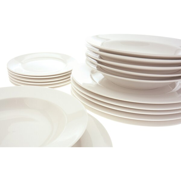 White Basics York 18 Piece Dinnerware Set, Service for 6 by Maxwell & Williams