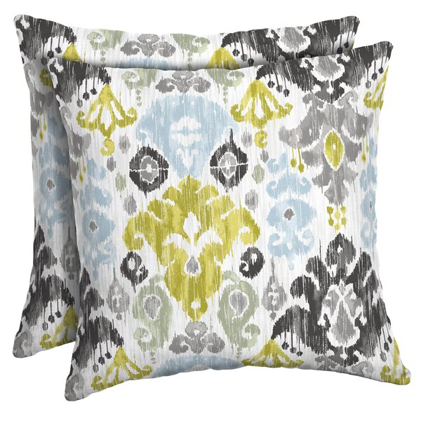 Pereda Ikat Outdoor Throw Pillow (Set of 2) by Bungalow Rose| @ $35.99